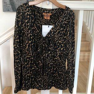 Tory Burch leopard cheetah silk blouse 12